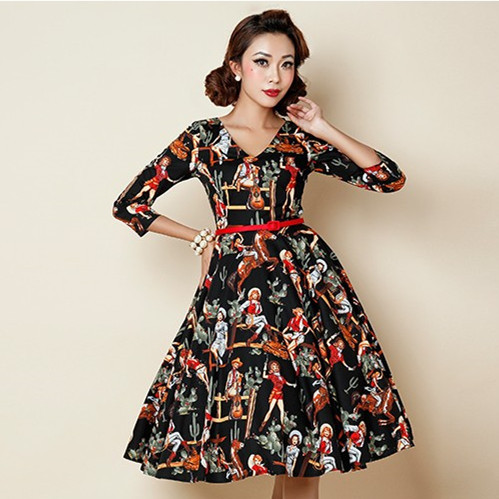 080794e34fddd US $49.99 |women vintage 50s hawai laides rockabilly pinup style v neck 3/4  sleeve swing mid dress plus size 4xl cotton dresses vestidos-in Dresses ...