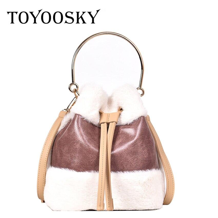 1c87ff348e Pelliccia Signore Di Black brown Del Sacchetto Toyoosky Metallo Manico  Qualità Donne pink Con Borse In Tracolla Alta Cuoio ...