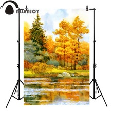 Allenjoy autumn photo background tree oil painting river natural backdrop photobooth photocall professional
