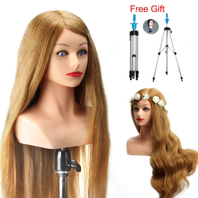 """24"""" Training Head With Shoulder High Grade 80% Real Hair Hairdressing Head Dummy Nice Manequim Blonde Long Hair Mannequin Head"""