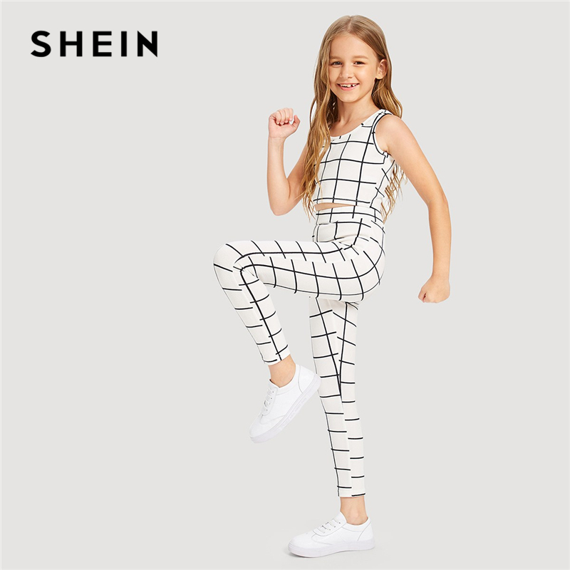SHEIN Kiddie White Plaid Scoop Neck Tank Top And Pants Set Girls Outfits 2019 Summer Sleeveless Active Wear Casual Clothes Sets pink sexy plunge v neck sleeveless bodycon dress