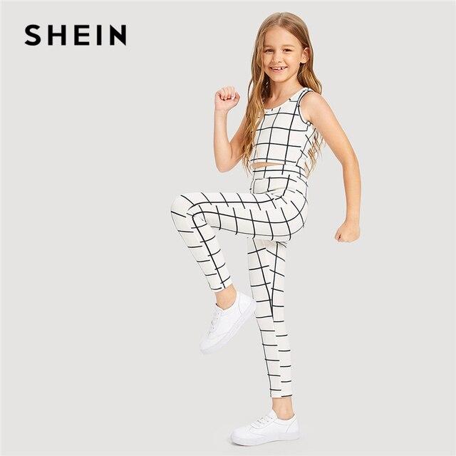 SHEIN Kiddie/комплект из белого клетчатого топа с круглым вырезом и штанов для девочек 2019 г. летняя одежда без рукавов для активного отдыха комплекты повседневной одежды