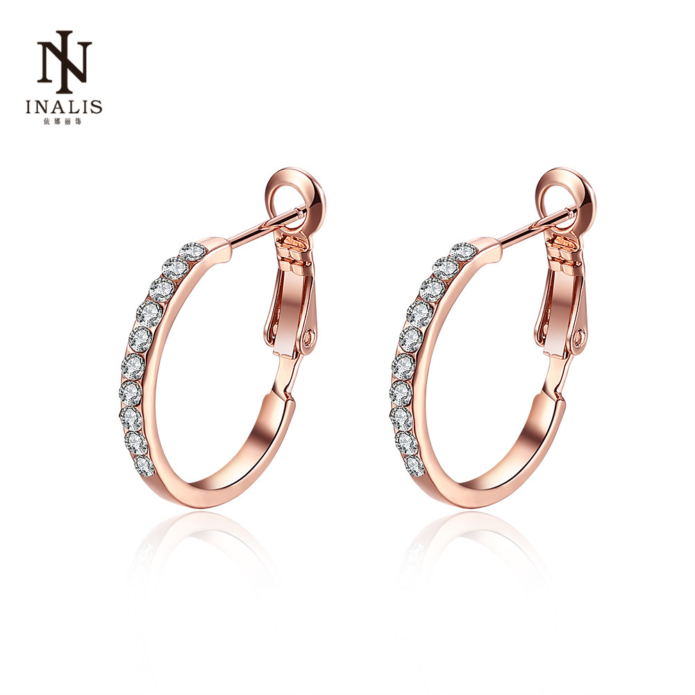INALIS Fashion New Stud Earrings Rose Gold Color/White Golod Color Zircon Earrings For Women Girl Jewelry