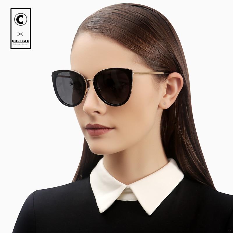 COLECAO Vintage Cat Eye Women Sunglasses Polarized Lenses Retro Blue Mirror Luxury New Brand Driving Glasses Ladies WithCase8053