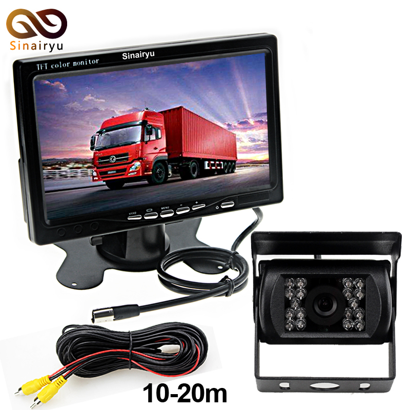 Sinairyu DC 12V~36V Truck Bus Parking Camera Monitor System, HD 7 Inch Car Monitor With Rear View Camera 10~20M RCA Video Cable free shipping 4 3 lcd monitor car rear view kit 1ch auto parking system for truck bus school bus dc 12v input rear view camera