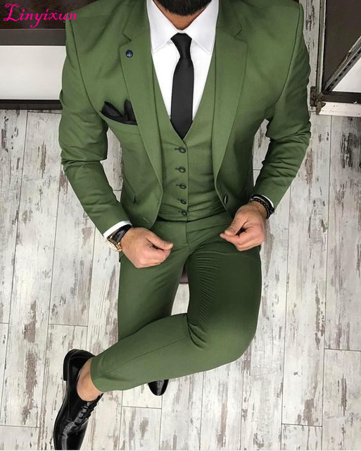 Linyixun 2018 Latest Coat Pant Designs Green Men Suit Business Slim Fit Skinny Formal Groom 3 Piece Suits Tuxedo Custom Terno