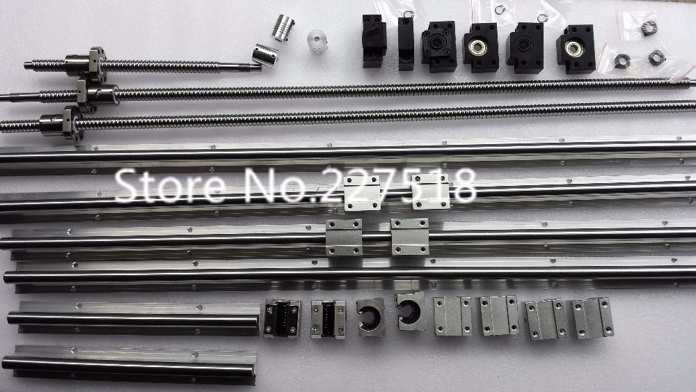 6 sets linear rail SBR16-300/700/1000mm+SFU1605-350/750/1050/1050mm screw+4 BK12/BK12+4 1605 holder+4 SRJ30C-14*10mm 3 linear guidesbr16 300 700 1000 1000mm 4ball screws 1605 300 700 1000 1000mm 4bkbf12 4ballnut housing 4coupling 6 35 10