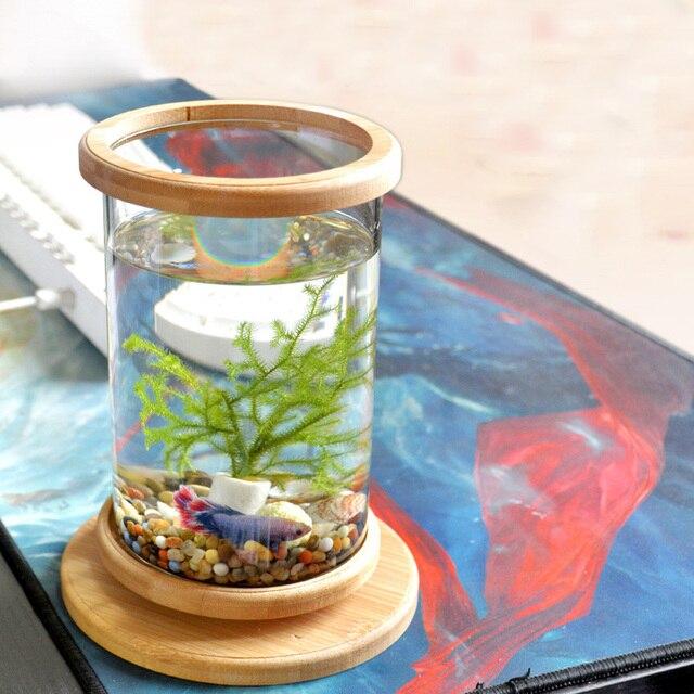 1pcs Glass Betta Fish Tank with  Bamboo Base  1