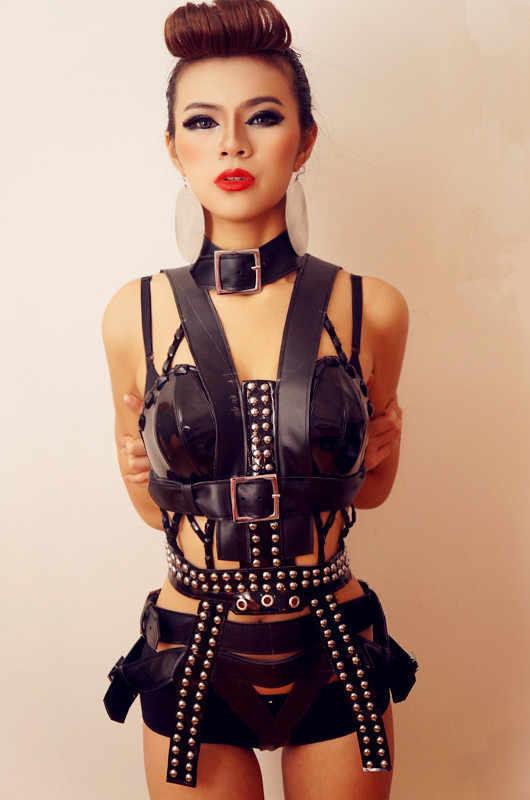 Черный стиль панк заклепки модные сексуальные роскошные танцевальные костюмы набор ночной клуб бар Дискотека диджей певича танцевальная одежда для сцены