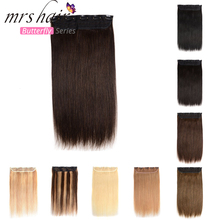MRS HAIR 1pc Brazilian Hair Clips Tic Tac 14″ 18″ 22″ Machine Made Remy Hair piece Straight Clip In Human Hair Extensions