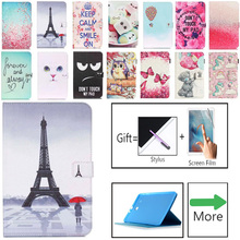 Tablet Case For Samsung Galaxy Tab E T560 SM-T560 T561 9.6 inch Smart Cover Fashion Girl Cat Flip Stand PU Leather Skin Funda