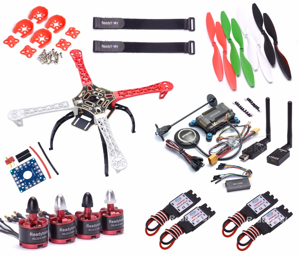 New F450 / S500 / X500 Multi-Copter Frame 2212 920KV Brushless Motor 433mhz Telemetry APM2.8  8N GPS ESC Super combo