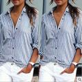 New Women Casual Basic Autumn Summer Chiffon Blouse Top Shirt Stripe Sexy buttons OL elegant Work Wear Plus Size