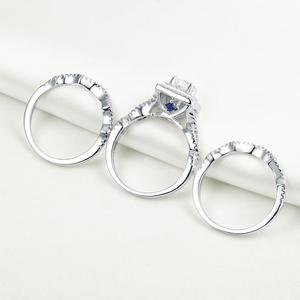Image 4 - Newshe 3Pcs Wedding Rings For Women Trendy Jewelry 2.4 Ct Princess Cut White CZ 925 Sterling Silver Engagement Ring Set JR5256