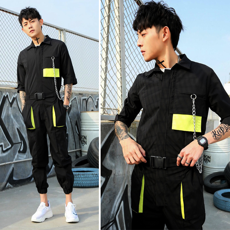 2019 new personality mens color pocket overalls jumpsuit tide men Japanese retro hip hop DJ