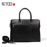 AETOO New Men S Handbag Horizontal Business Men S Leather Leather Casual Computer Bag Cowhide Briefing