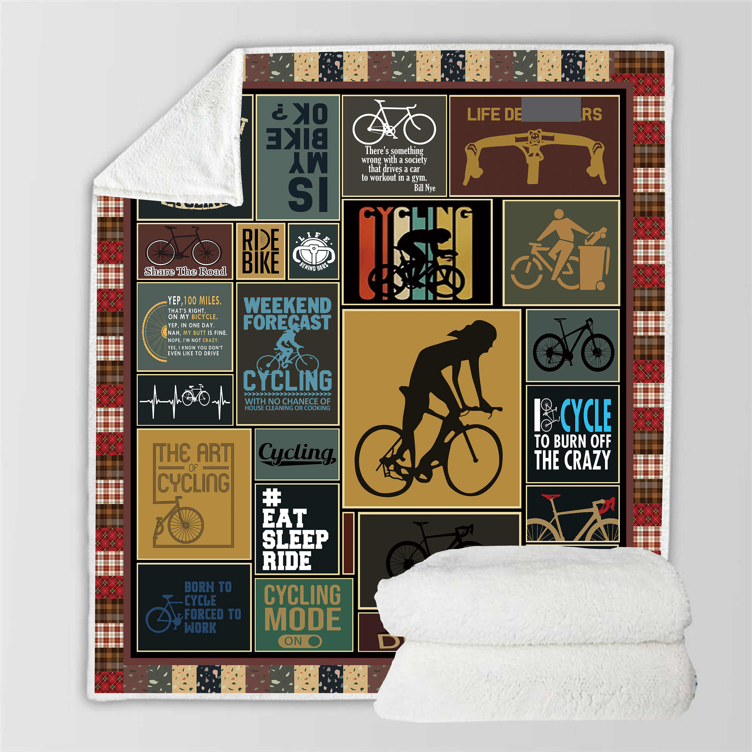 3D Sport Bicycle Sherpa Blanket Back to School Crest Scotland Pattern Bed Sofa Printed Bedspread Fleece Plush Throw Blanket