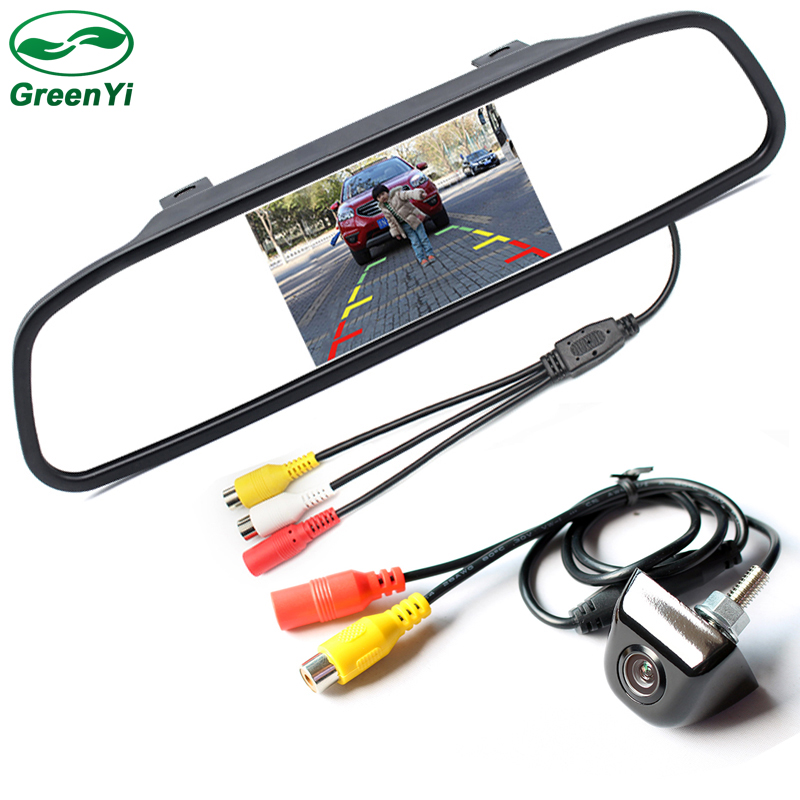 GreenYi Car CCD Rear View Camera Car Parking Backup Camera Connect HD 5 inch Rearview Mirror