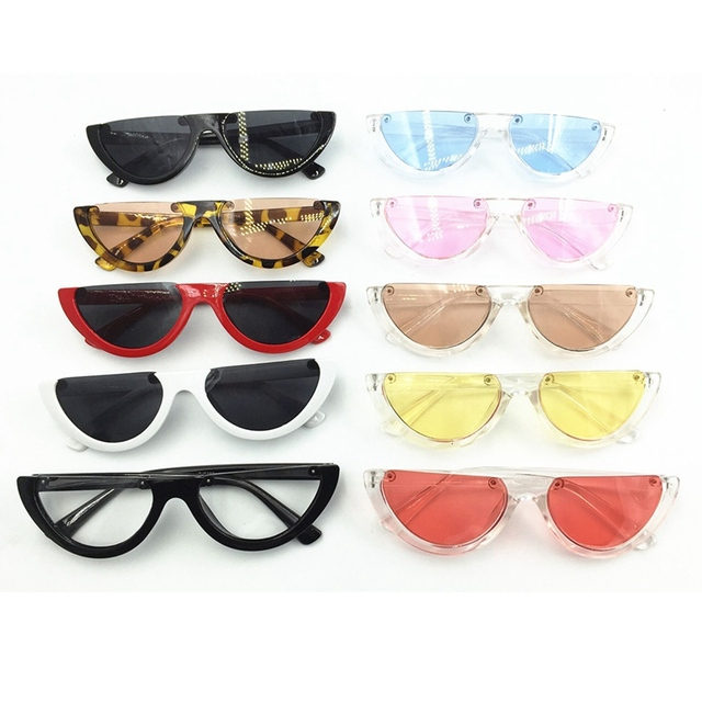 Metade único Quadro Mulheres óculos de Sol Olho De Gato Moda Feminina Rosa/Clear Lens Shades