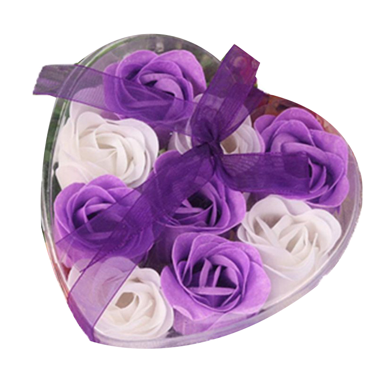 9Pcs Scented Rose Flower Petal Bath Body Soap Wedding Party Gift(Purple+White)