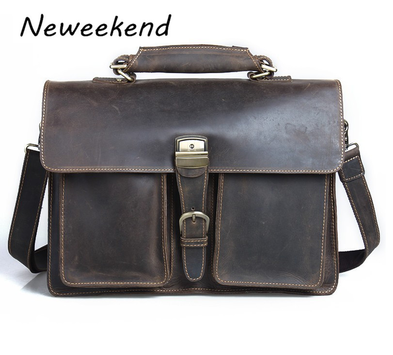 NEWEEKEND 7164 Retro Genuine Leather Crazy Horse Multi-Pocket Cowhide Crossbody Shoulder Handbag Briefcases laptop Bag for Man neweekend 1005 vintage genuine leather crazy horse large 4 pockets camera crossbody briefcase handbag laptop ipad bag for man