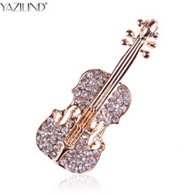 YAZILIND Creative Personalized Violin Brooch Full Rhinestone Guitar Collar Suit Brooches Pin Men and Women Jewelry Accessories(China)