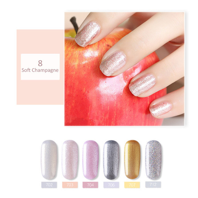 SUGAR Glitter UV Gel Nail Polish Set Nude Color Series Led