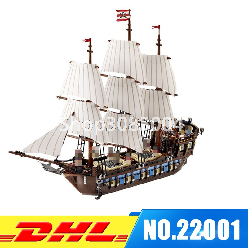 IN STOCK NEW LEPIN 22001 Pirate Ship Imperial warships Model Building Kits Block Briks Toys Gift 1717pcs Compatible 10210 lepin 22001 pirates series the imperial war ship model building kits blocks bricks toys gifts for kids 1717pcs compatible 10210