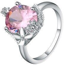 купить Seanlov Cute Flower Pink CZ Women's Engagement Ring Jewelery Silver Color Vintage Party Rings For Women Fashion Jewelry Bijoux по цене 123.1 рублей