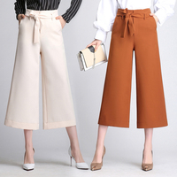 2018 Femmes Tricoté Large Jambe de Mousseline de Soie Pantalon Taille Haute Cravate taille Pantalon Palazzo OL Pantalon Long Culottes Pantalon 3 couleurs M-4XL