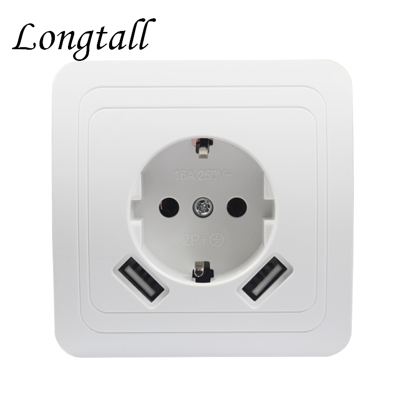 USB Wall Socket charger Free shipping Double USB Port 5V 2A Usb enchufes para pared prise high quality white color LB-04