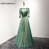 New Arrival Vestido De Festa Abendkleider Evening Dress 2018 Green Ever Pretty Half Sleeve Prom Dresses