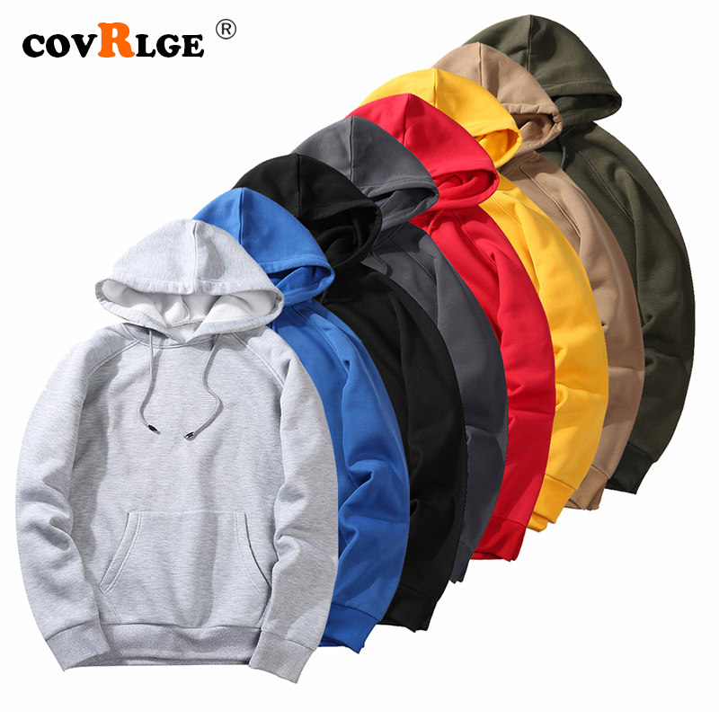 Covrlge EU Size Fashion Colorful Hoodies Men's Thicken Clothes Winter Sweatshirts Men Hip Hop Streetwear Solid Fleece Man Hoody
