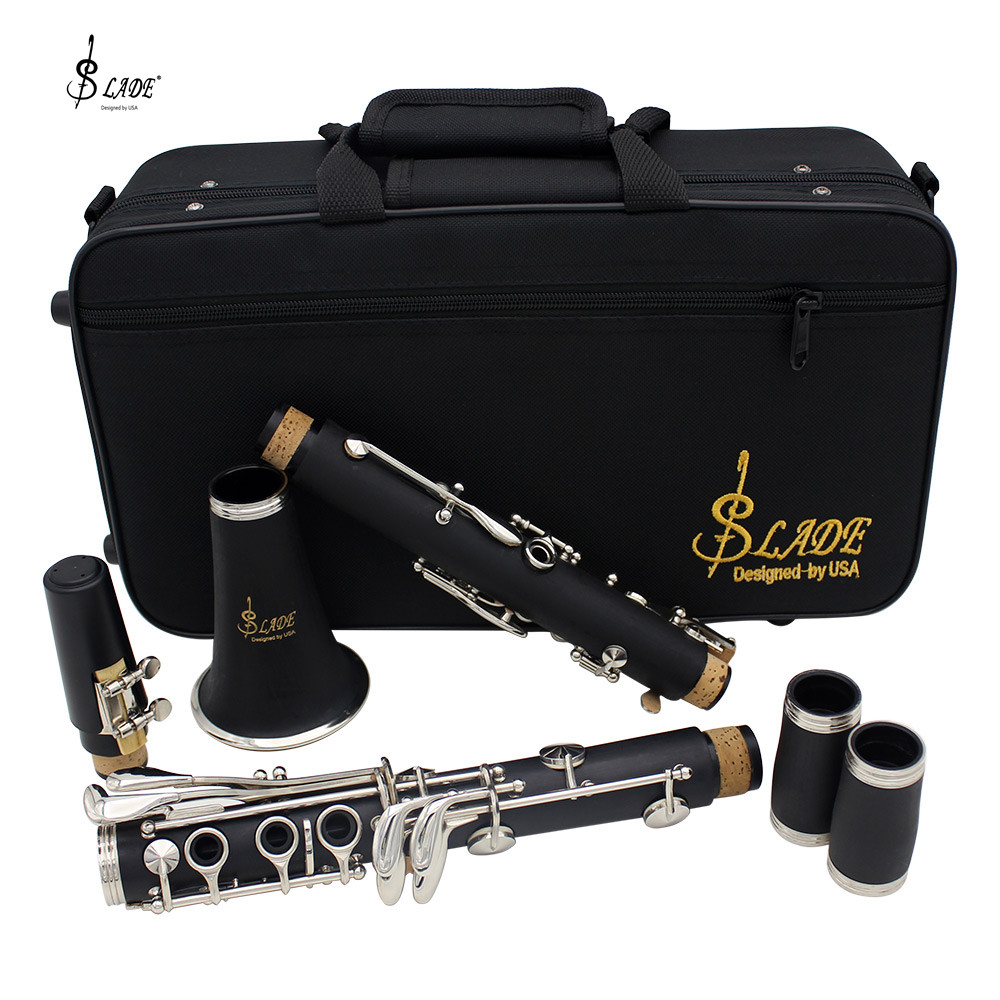 LADE Clarinet ABS 17 Key bB Flat Soprano Binocular Clarinet with Cleaning Cloth Gloves Screwdriver Case Woodwind Instrument excellence bb soprano clarinet bell ebony