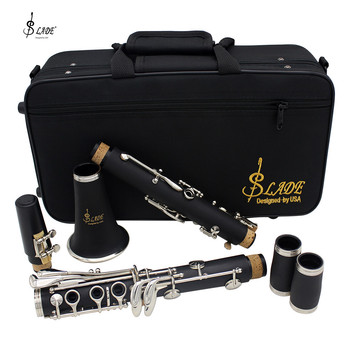 LADE Clarinet ABS 17 Key bB Flat Soprano Binocular Clarinet with Cleaning Cloth Gloves Screwdriver Case Woodwind Instrument