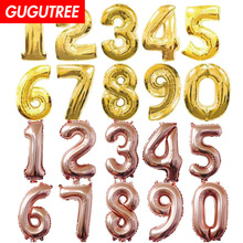 все цены на Decorate 32inch rose gold silver number foil balloons wedding event christmas halloween festival birthday party one HY-38