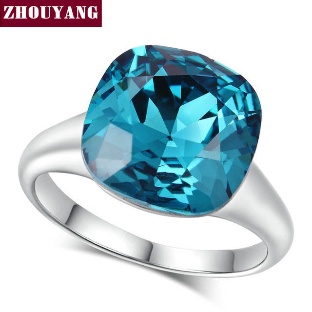 Top Quality ZYR083 Magic Blue Crystal Ring Silver Color Made With Austrian Cryst