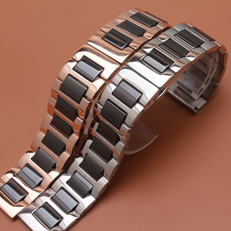 links New Ceramic Watchbands solid links Watch Straps Bracelets stainless steel Rosegold for dress wristwatches 16mm 18mm 20mm 22mm