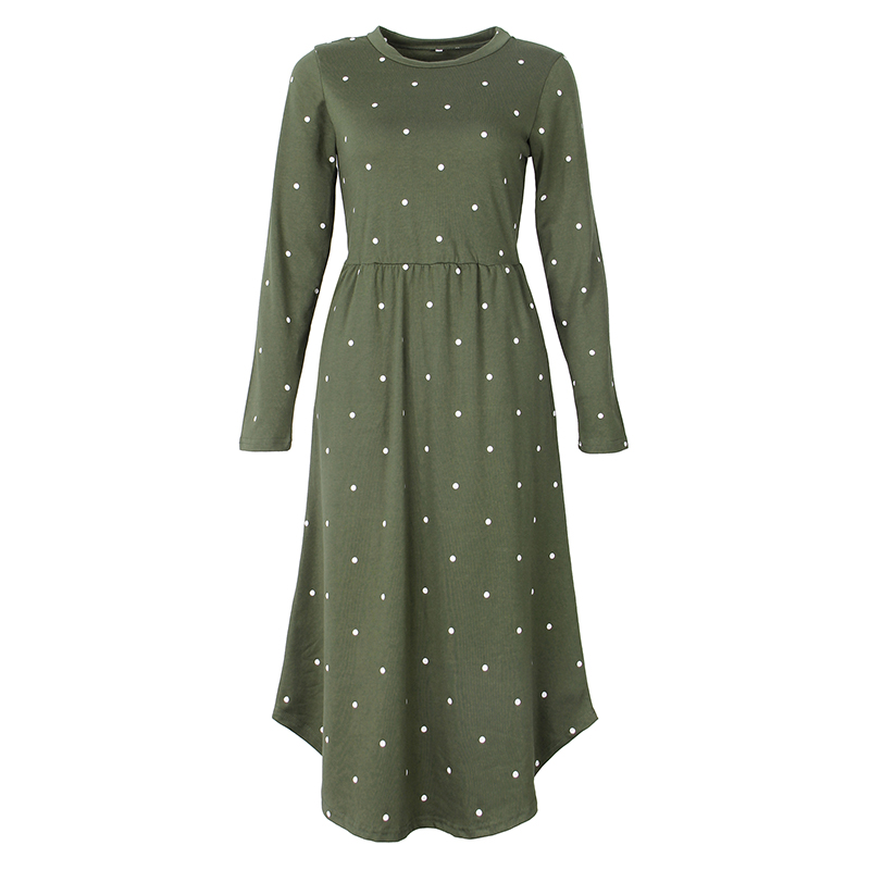 2018 New Women Vintage Dress Robe Femme Casual Loose A-line Midi Dress  O-neck Pockets Polka Dot Dress Pleated Plus Size GV515 ba107520655c