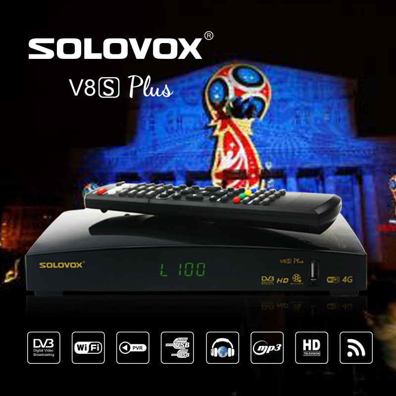 Genuine SOLOVOX V8S Plus DVB-S2 Digital Satellite Receiver Support Xtream IPTV USB Wifi Youtube USB Wifi Biss Key CCCAMD NEWCAMD цена