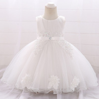 Infant Baby Girls White Ball Gown Princess Dress for 1st Year Birthday Party Baby Kids Newborn Lace Dress for Wedding Party New