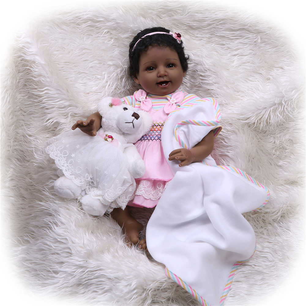 NPKCOLLECTION 55cm Bebe Reborn Doll Soft Silicone Girl Toy Reborn Baby Doll Gift for Children's Day Black Smile Cute Girl