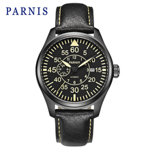 New 44mm Parnis Watch Men Black Dial Yellow Mark Miyota Automatic Mens Watches Casual