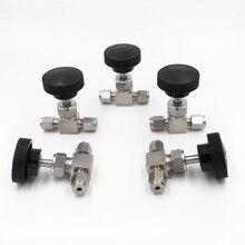 FREE Adjustable needle valve O.D 3 4 6 8 10 12 mm tube stainless steel 304 high pressure acid proof straight card set crane