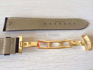Image 2 - 20mm (Buckle18mm) T019430 High Quality gold Plated Pin Buckle + Brown Genuine Leather Watch Bands Strap