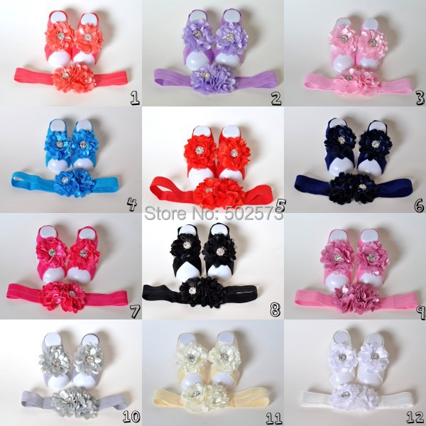 120set/lot  Baby Barefoot Sandals With Chiffon Flower Matching Headband  QueenBaby