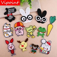 VIPOINT embroidery rabbit zebra patches cats pig frog bear badges applique for clothing YX-81