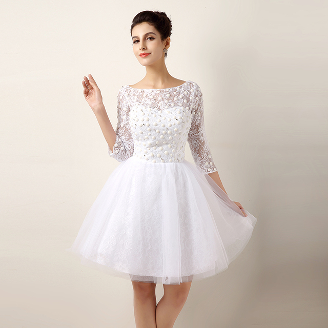 Aliexpress compre sexy short wedding dresses lace real photo sexy short wedding dresses lace real photo bides with sleeves weddings gowns fashionable vestidos de noiva junglespirit Image collections