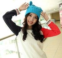 Duivel oren vrouwelijke winter warm cap Trendy Collocatie vrouwen buiten caps Skiën hoed cool 10 kleur 1 stks gloednieuwe aankomen