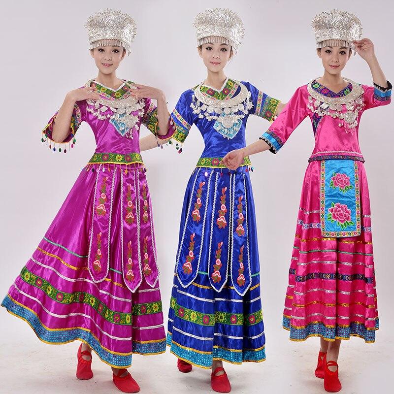 Акционная распродажа полиэстер Для женщин танцевальные костюмы хмонг одежда китайский Мяо меньшинства костюмы Длинные платья костюм плат...
